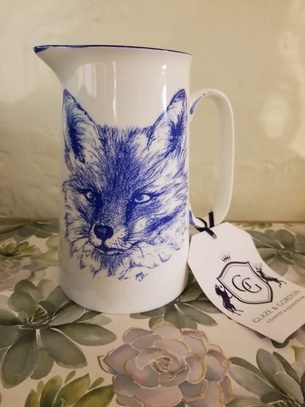 Muffet Monro Fox Head (front) Large Jug - Blue & White