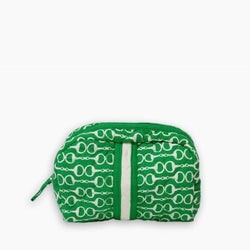 Pomegranate Quilted Cosmetic Bag - Green Snaffle