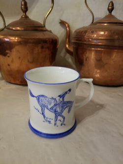 Muffet Monro Handpainted Eventing Mug - Blue & White