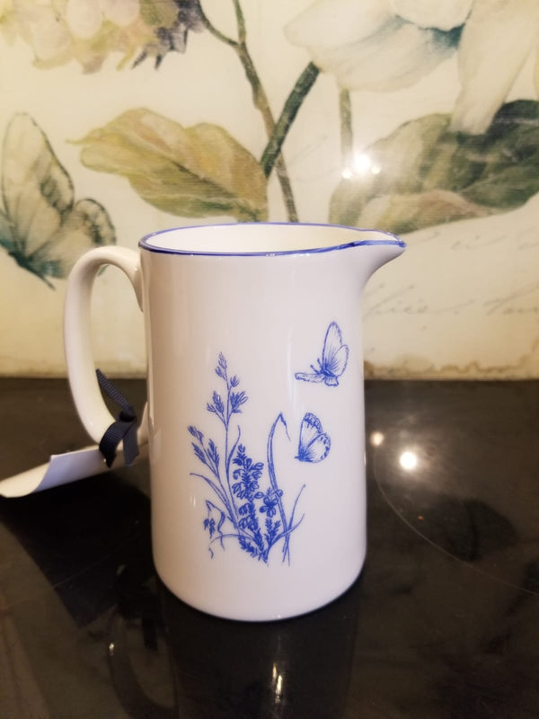Muffet Monro Cockerel and Wildflowers Small Jug - Blue & White