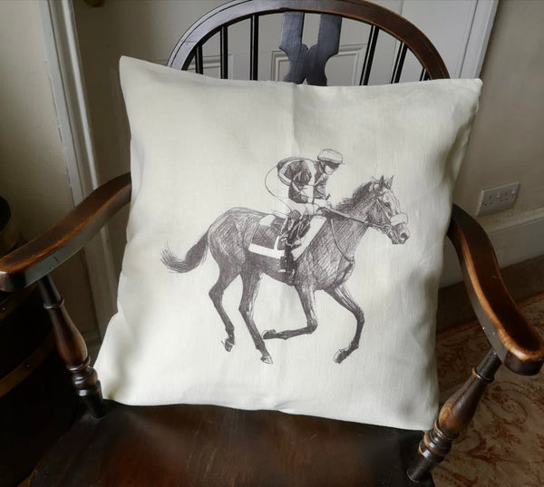 Ox Bow Decor Horse & Jockey Knife Edge Cushion