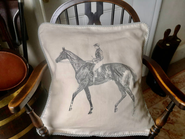 Ox Bow Decor Horse & Jockey Cord Edge Cushion Cover
