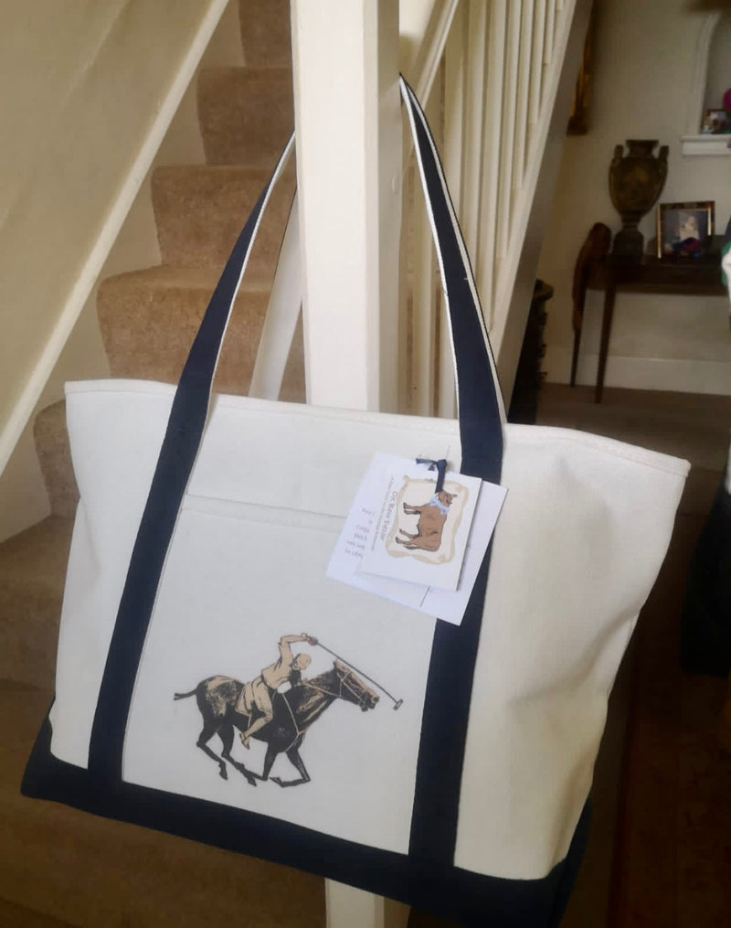 Ox Bow Decor Polo Player Large Tote Bag