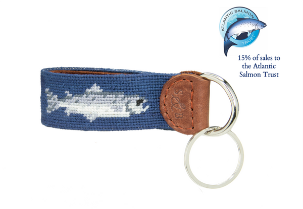 Smathers & Branson Salmon Needlepoint Key Fob - 15% of sales go to the Atlantic Salmon Trust