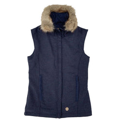 Annabel Brocks Navy Tweed Wool Gilet with Removable Faux Fur Collar
