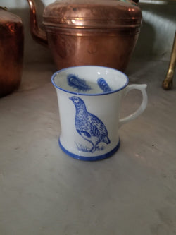 Muffet Monro Partridge and Pheasants Mug - Blue & White