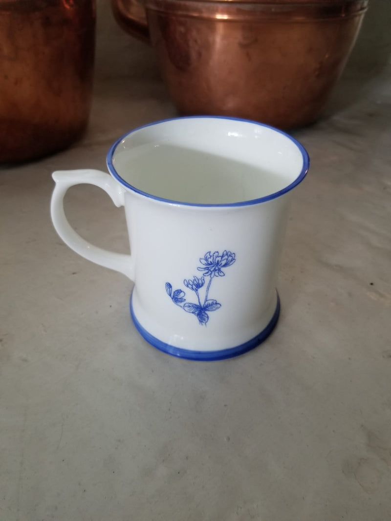 Muffet Monro Poised Hare with Flowers Mug - Blue & White