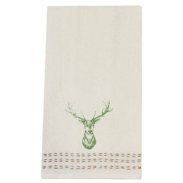 Pomegranate Hand Stitched Linen Hand Towel  – Stag
