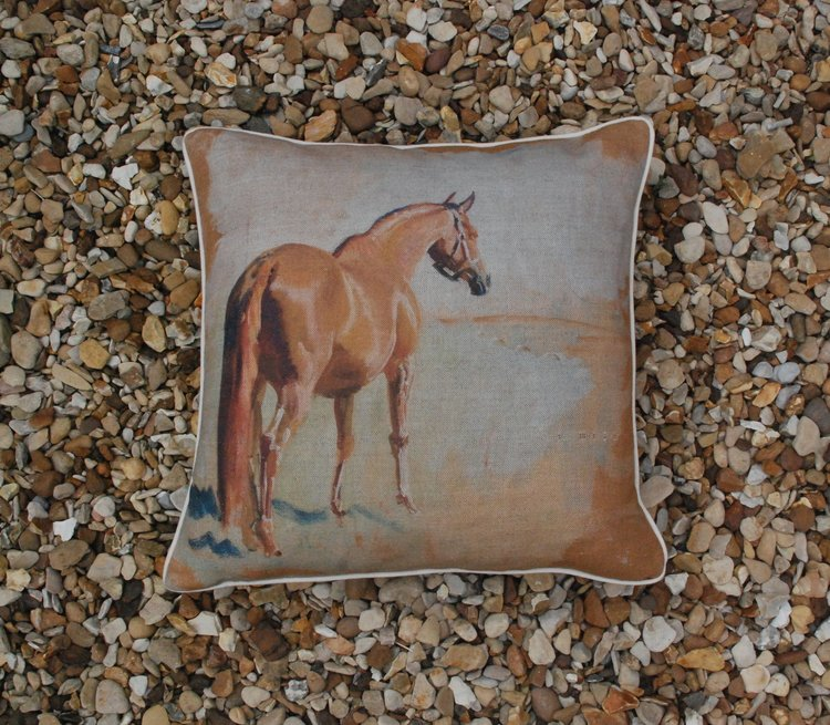 Isabel Scott Study of a Racehorse Square Cushion