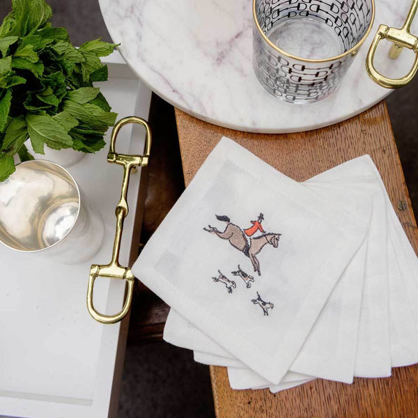Pomegranate Hunt Embroidered Cocktail Napkins Set of 6