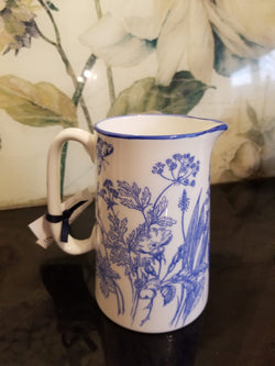 Muffet Monro Wildflowers Medium Jug - Blue & White