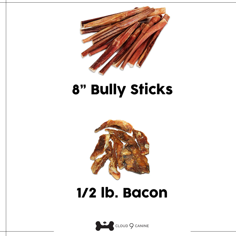 "35 -  8"" Bully Sticks and 1/2 pound of Bacon"
