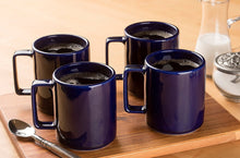 Ceramic Square Handle Coffee Mug, Pack of 4