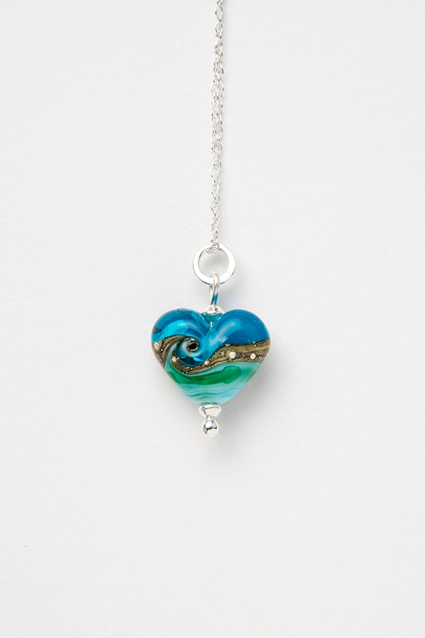 Deep Blue Sea Beach Babe Heart  pendant
