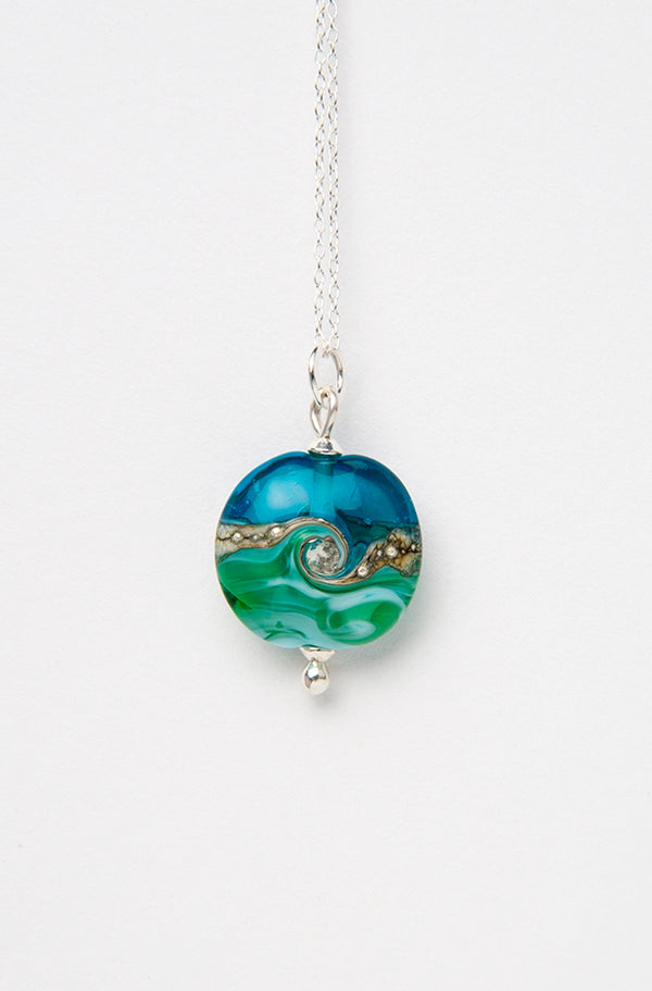 Deep Blue Sea Beach Babe Lentil pendant