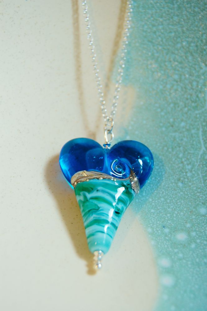 Deep blue sea extra large heart pendant