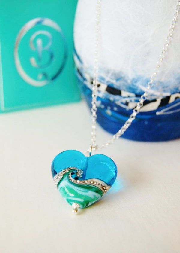 Deep Blue Sea Large Heart pendant