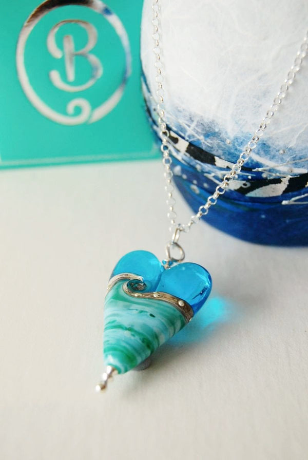 long deep blue sea heart pendant