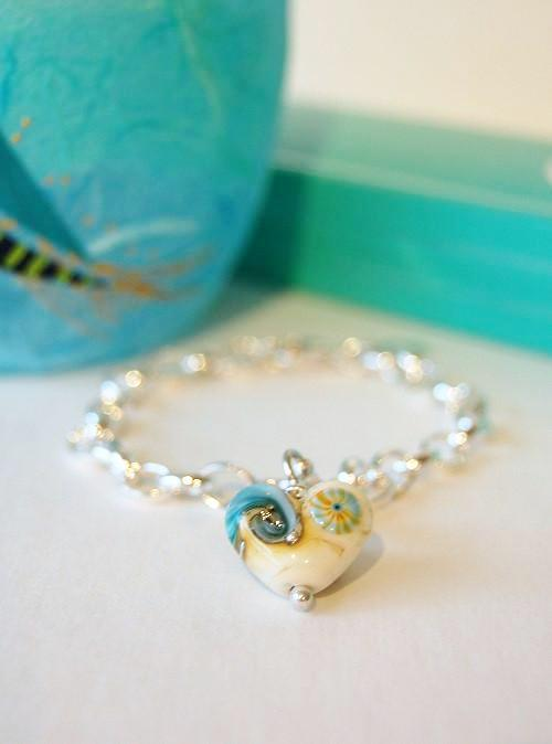 Sand & Sea Heart Charm Bracelet by Beach Art Glass