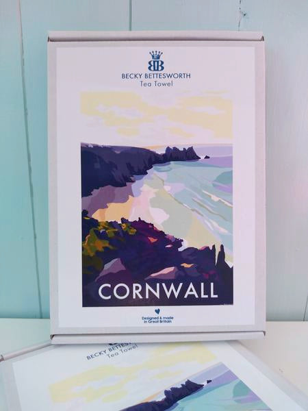 Becky Bettesworth Cornwall Bay Tea Towel