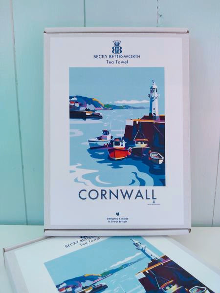 Becky Bettesworth Cornwall Mevagissey Tea Towel