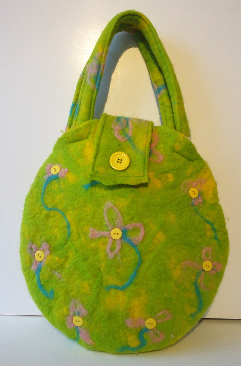 Beverley Harris, Lime Green Felted Bag