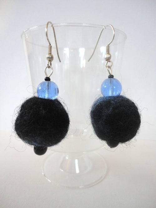 Deep Blue Felt earrings by Beverley Harris