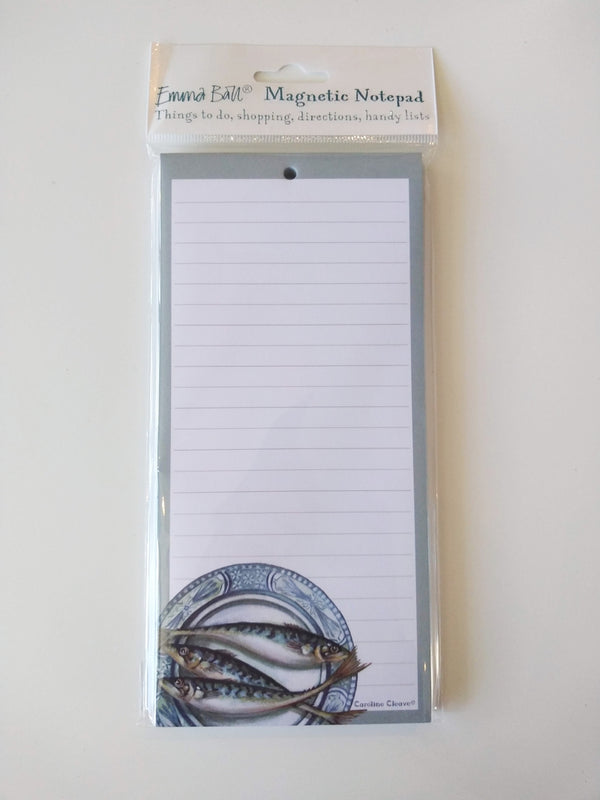 Mackerel Plate magnetic notepad by Caroline Cleave