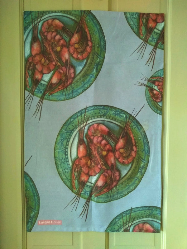 Caroline Cleave Plated Prawns Tea towel