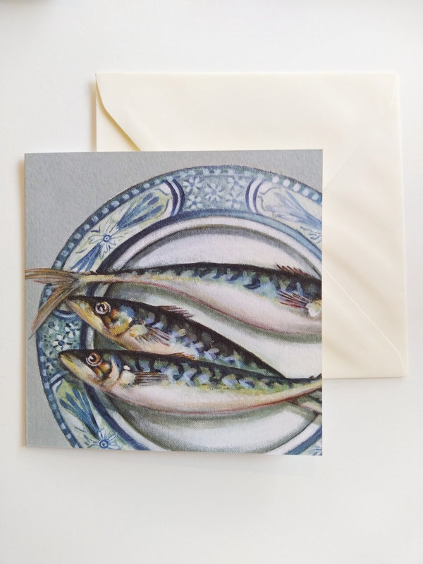 Plated Mackerel card by Caroline Cleave