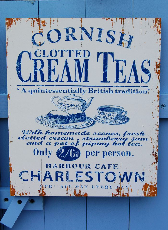Cornish Cream Teas Charlestown sign