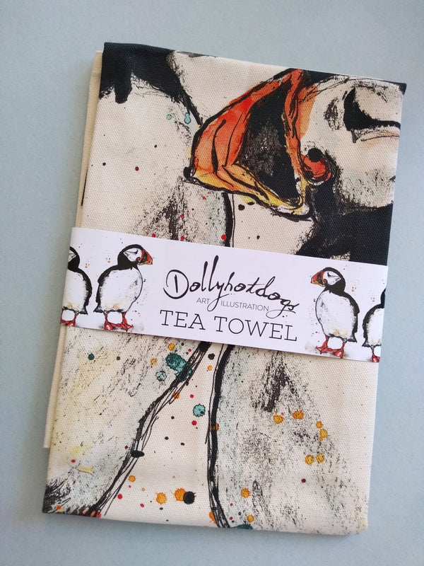 Dollyhotdogs Puffin Tea towel