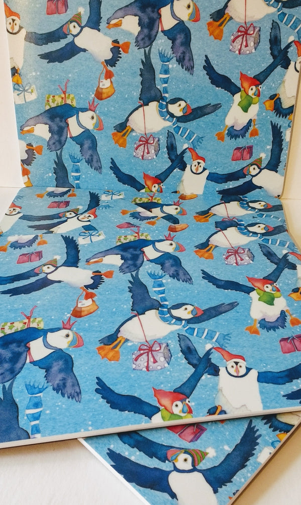 Emma Ball Christmas puffins placemat