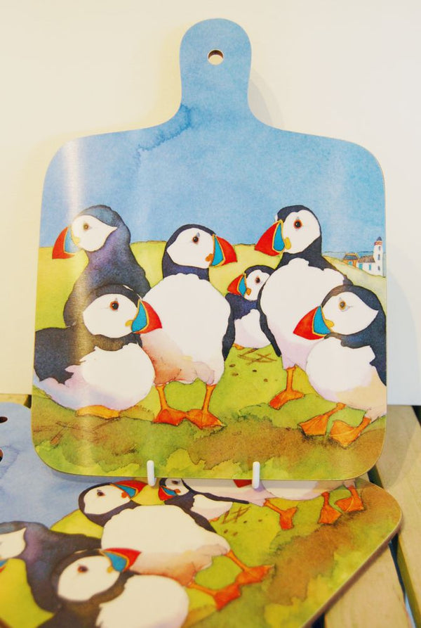 Emma Ball puffins chopping board