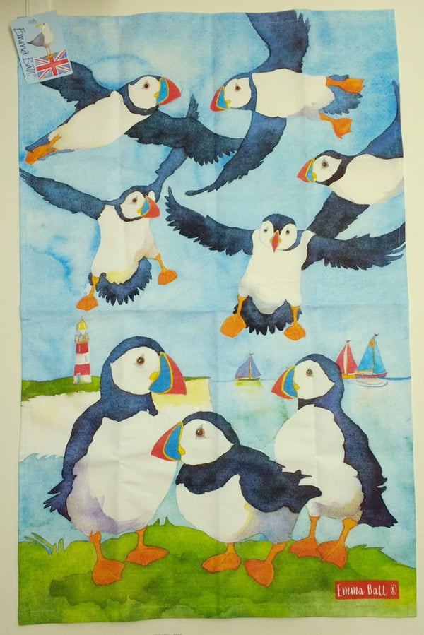 Puffins Tea towel by Emma Ball
