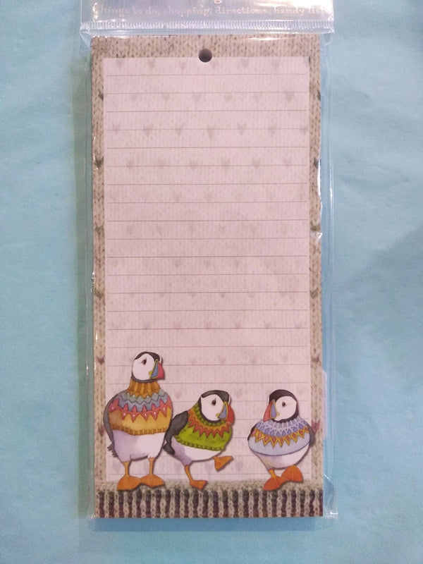 Woolly Puffins magnetic notepad by Emma Ball