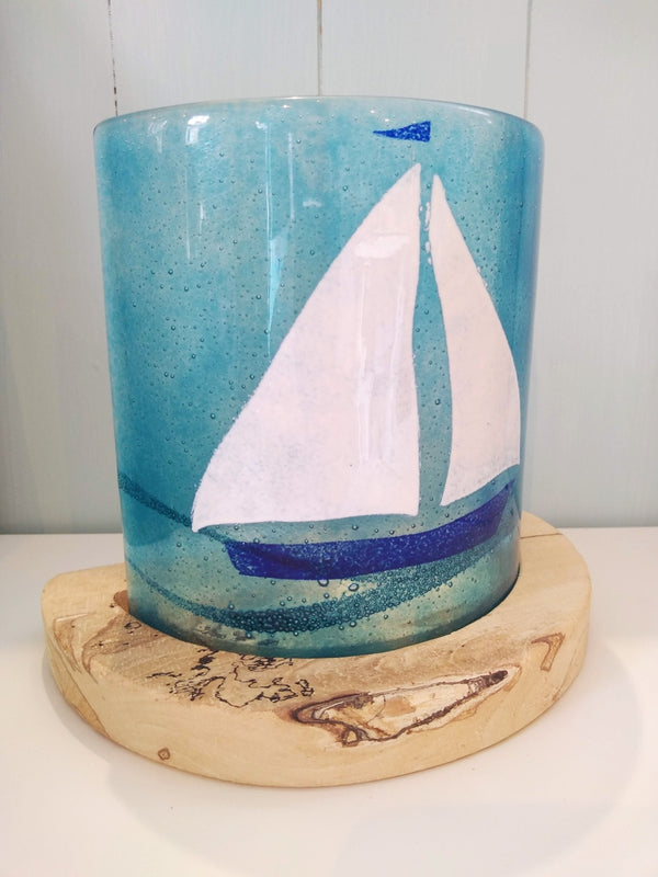 Sailing Glass Candleshade and Base