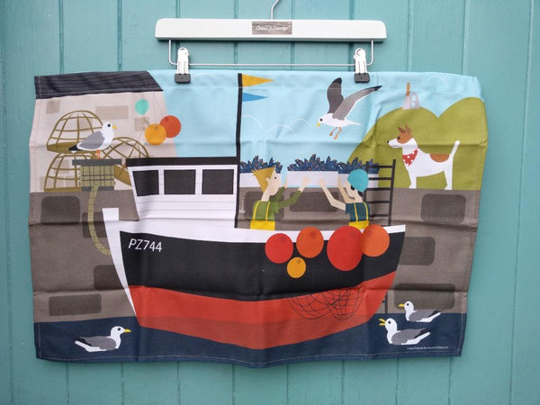 Landing The Catch tea-towel by Kate Pearson