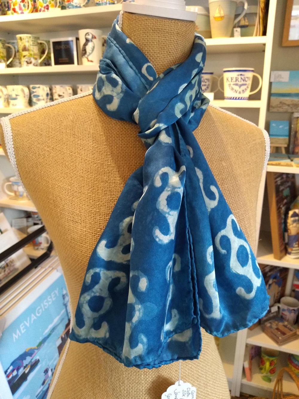 Janet Croome Cornish Clay, Cloth and Indigo Silk Scarf