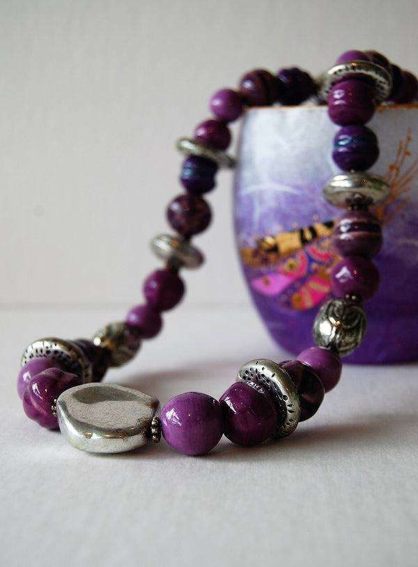 Janie Butler ceramic beads necklace (purple)