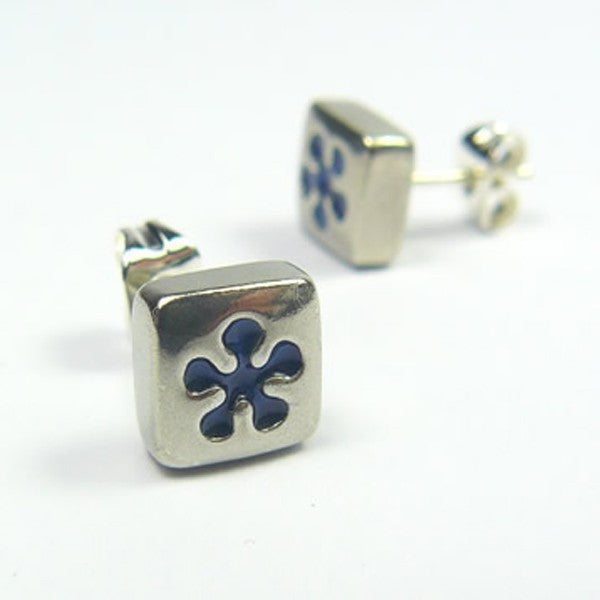 Koa, Blue Flower pewter earrings