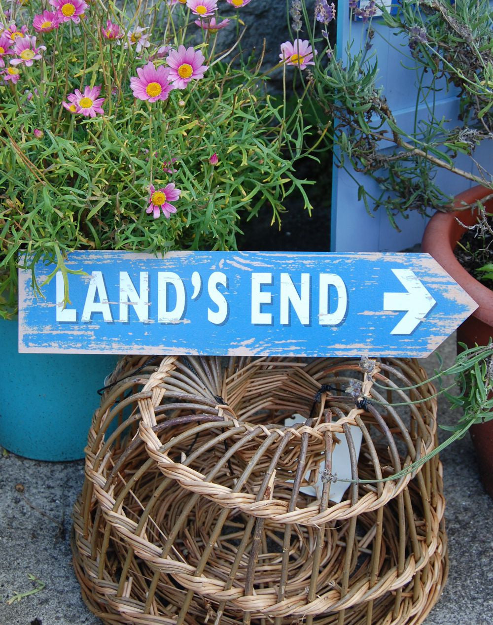 Land's End coastal sign (blue)