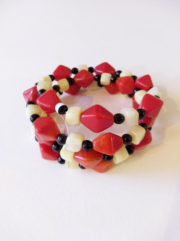 Black, Red and Cream Vintage Bead bracelet by Margaret Gould