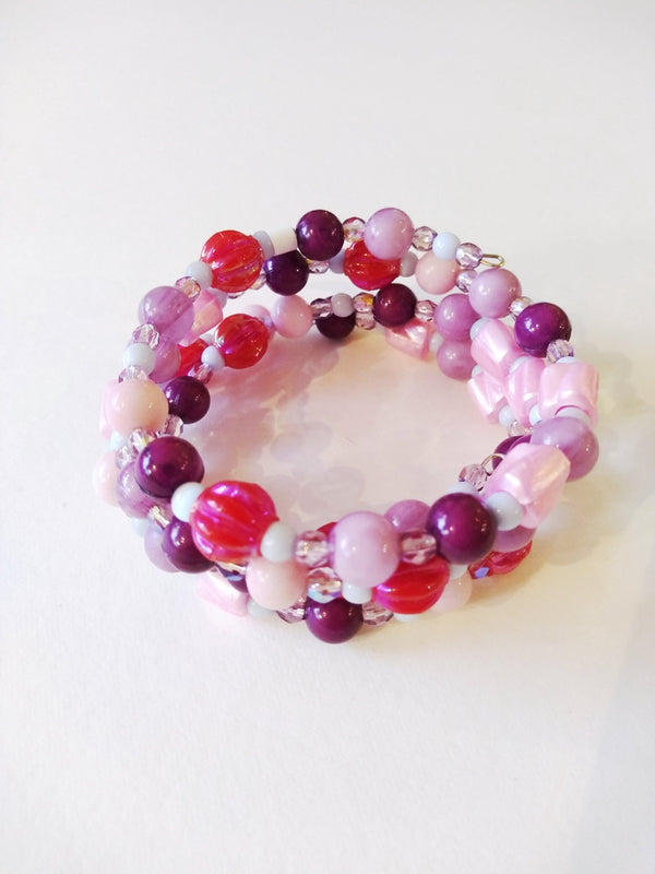 Pink and Purple Vintage Bead bracelet by Margaret Gould