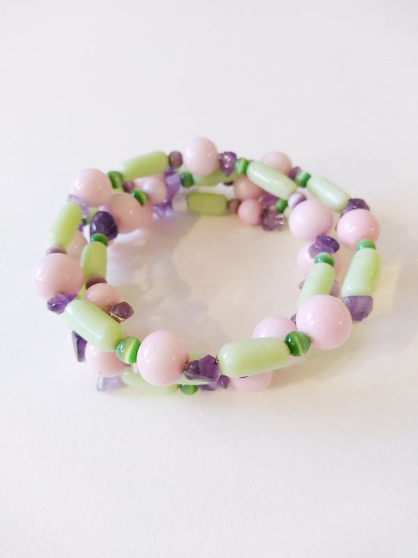 Pink, Purple and Green Vintage Bead bracelet by Margaret Gould