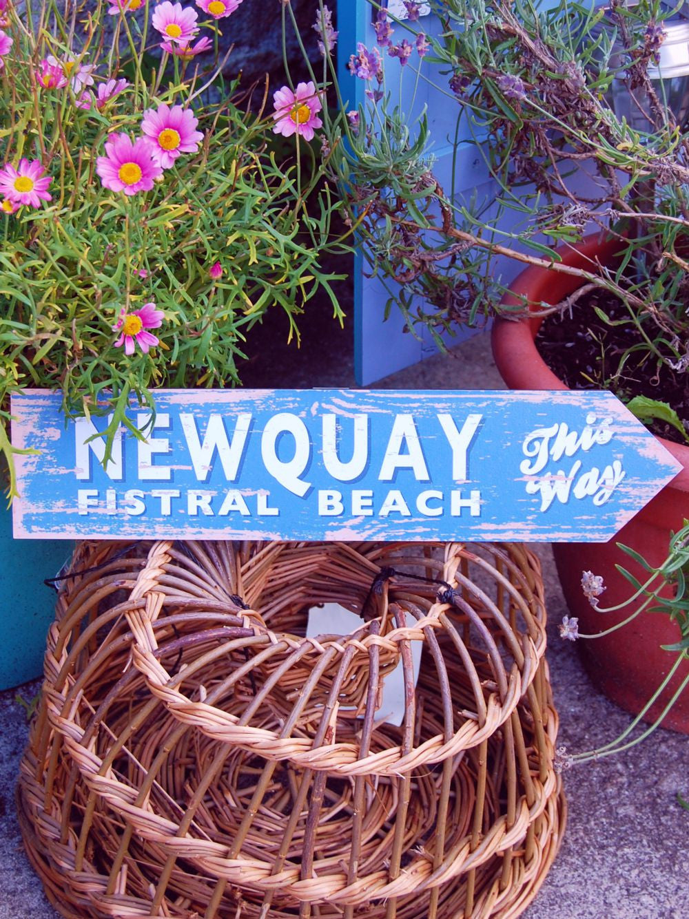 Newquay coastal sign (blue)