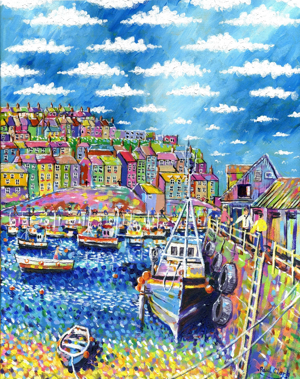 Blue Boat, Mevagissey, print by Paul Clark