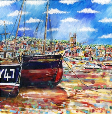 Boats At Low Tide St Ives, print by Paul Clark