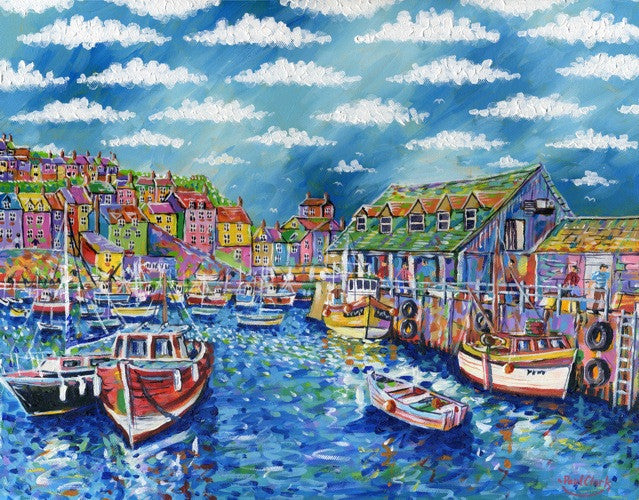 Boats In The Harbour Mevagissey print by Paul Clark