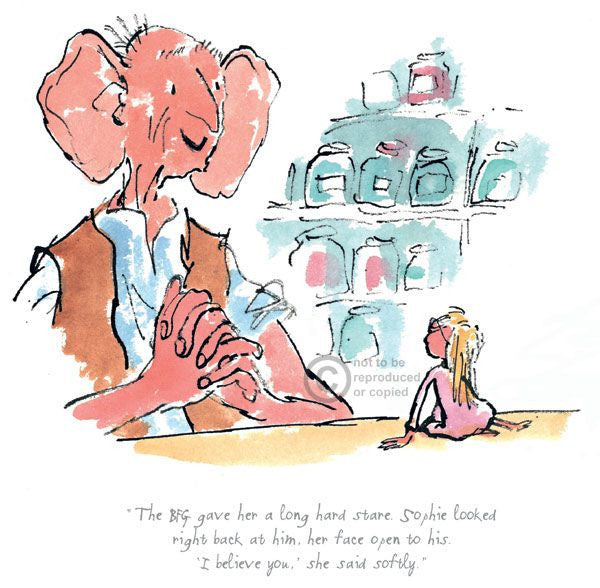 """The BFG Gave Her A Long Hard Stare"" print by Quentin Blake (Roald Dahl)"